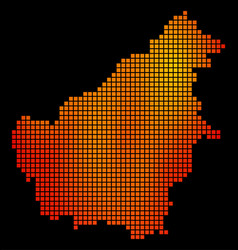 Dotted fire borneo island map vector
