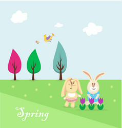 easter bunnies resting in park vector image