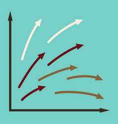flat icon on stylish background arrow chart vector image