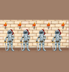 Four knights standing by castle wall vector