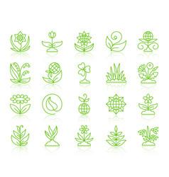 garden simple color line icons set vector image