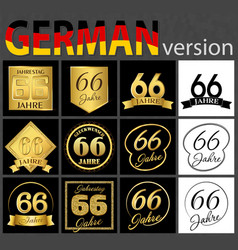 German set of number 66 templates vector