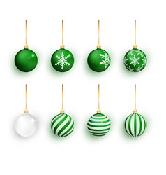 green christmas balls set isolated on white vector image