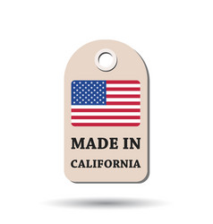 Hang tag made in california with flag on white vector