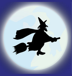 happy halloween moon cartoon zombie hand witch vector image