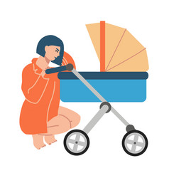 happy mother with pram mom crouched in stroller vector image