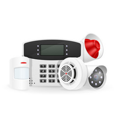 Home security system set icons vector