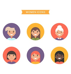 Icons of diverse smiling women Bright colored flat vector