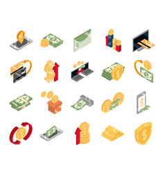 isometric money cash currency business coins vector image