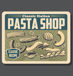 Italian pasta or macaroni conchiglie and rigatoni vector