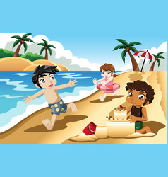 kids playing on beach vector image