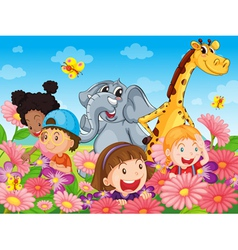 Kids with animals vector image