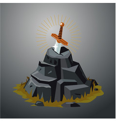 legendary sword in stone excalibur vector image