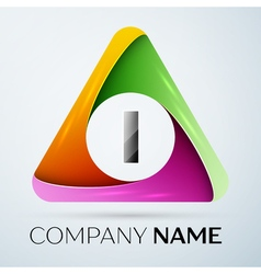Letter I logo symbol in the colorful triangle vector
