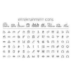 line entertainment icons set on white background vector image