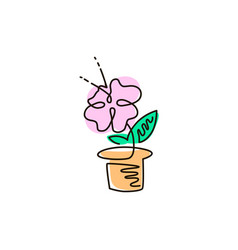 Line icon flower in a pot gardening vector