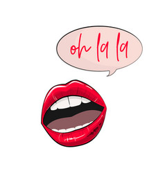 lips stickers fashion glamour pink sexy vector image