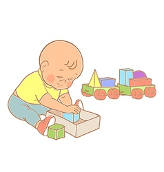 Little lovely baby boy playing with toys vector image