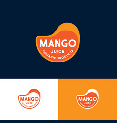 logo mango drop juice label for packaging vector image