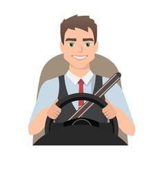 Man driving a car man clothing in casual cloth vector