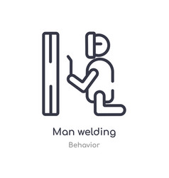 Man welding outline icon isolated line from vector