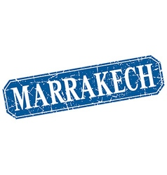 Marrakech blue square grunge retro style sign vector