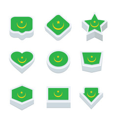 Mauritania flags icons and button set nine styles vector