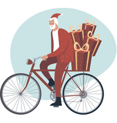 modern santa claus character riding his bicycle vector image