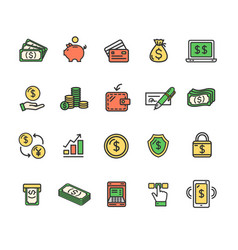 money finance symbols and signs color thin line vector image