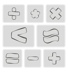 Monochrome icons with arithmetic symbols vector