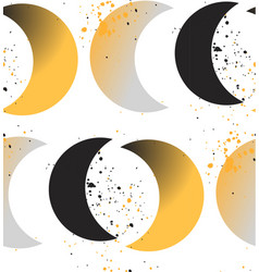 Moon phases crescent growth abstract seamless vector
