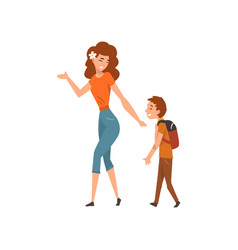 Mother talking with her son who walking with vector