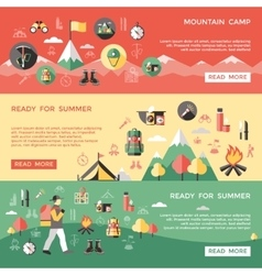 Mountaineering Horizontal Banners Set vector image