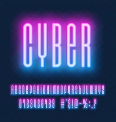 Neon font glowing blue and pink capital letters vector