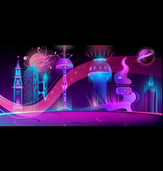 night background with alien futuristic city vector image