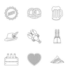 Oktoberfest set icons in outline style big vector