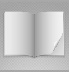 open magazine with blank pages on transparent vector image