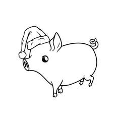 outline little pig with a santas hat walking vector image