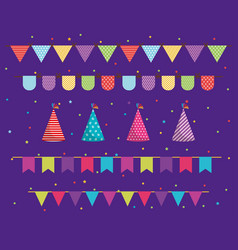 party pennant and hats design vector image