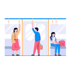 passengers in metro wagon concept vector image