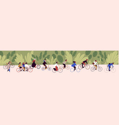 people ride bicycling at bicycle parade vector image