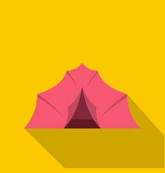 pink tent for camping icon flat style vector image