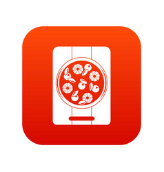 pizza with pineapple and basil on board icon vector image