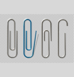 Realistic paper clips isolated transparent attach vector