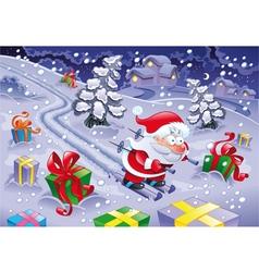 Santa Claus skiing in the night vector