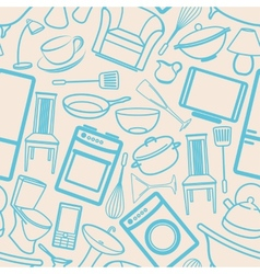 Seamless background with household items vector