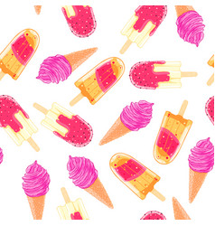 seamless pattern with colorful ice cream cone and vector image