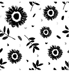seamless repeating pattern with hand painted black vector image