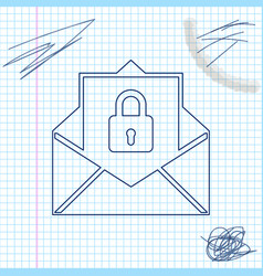 secure mail line sketch icon isolated on white vector image