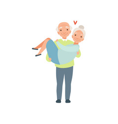senior man carring woman in his arms elderly vector image